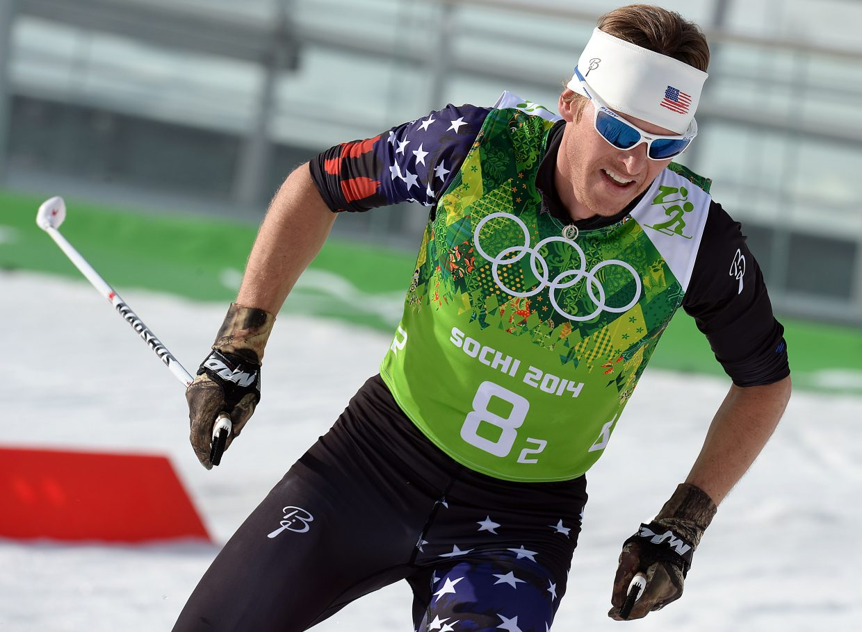Todd Lodwick skis Thursday during the final Nordic combined competition of the 2014 Winter Olympics, the team relay event.