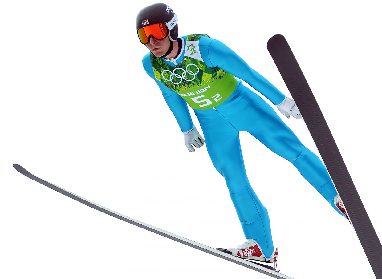 Taylor Fletcher jumps Thursday in the Nordic combined large hill competition at the 2014 Winter Olympics.