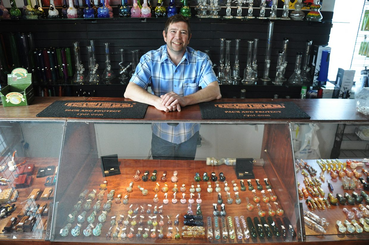 Eric Liss opened the Y-Not Shop in west Steamboat Springs in support of the local marijuana industry. His shop sells an assortment of accessories geared toward pot smokers.
