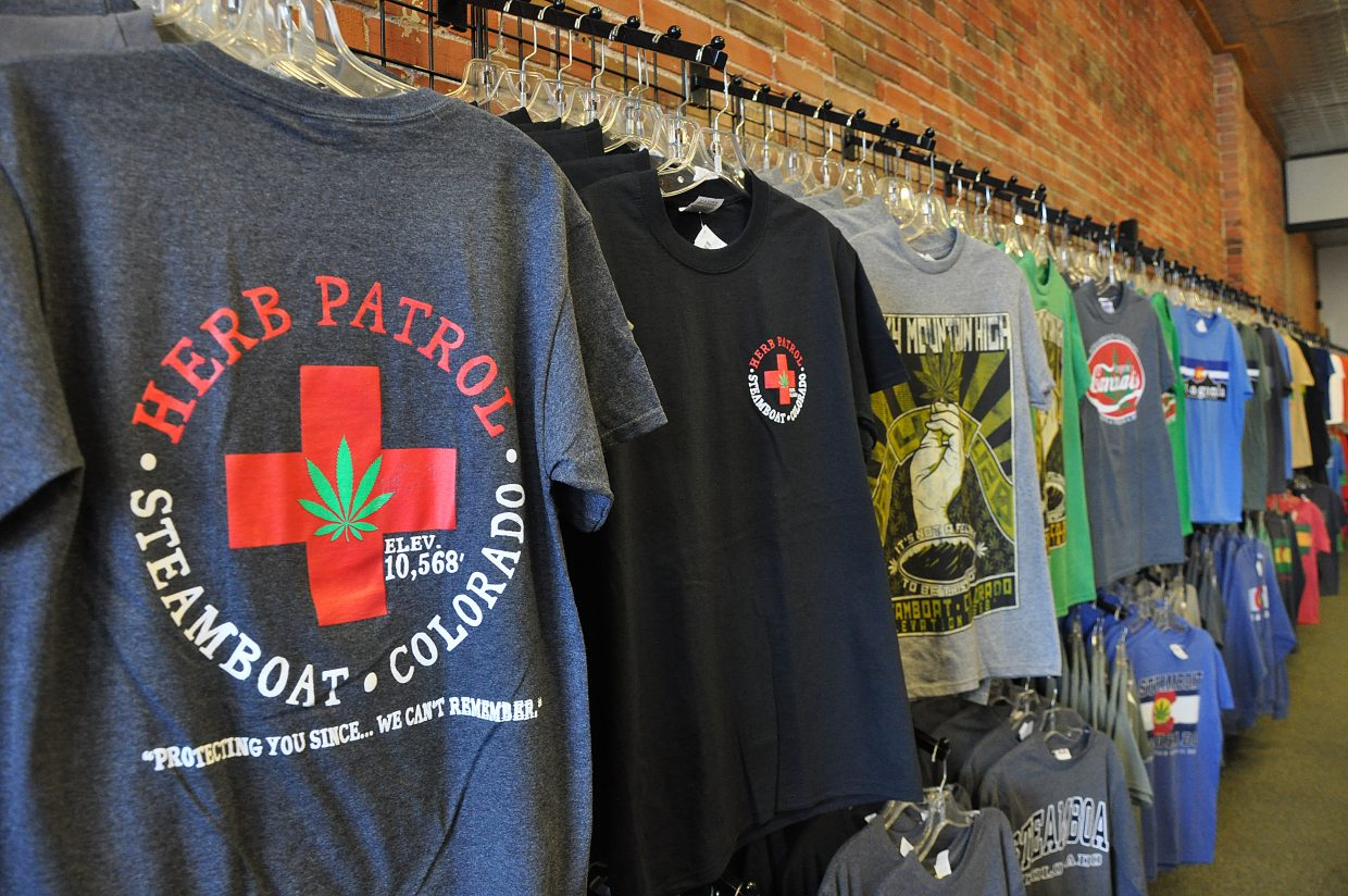 Marijuana-themed T-shirts line the walls at The Core in downtown Steamboat Springs.