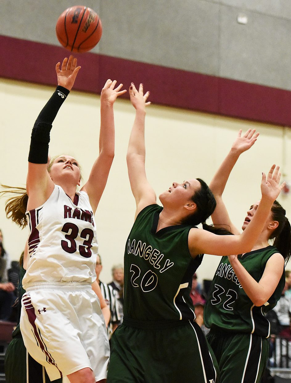 Soroco's Jessica Rossi puts up a shot Thursday against Rangely. The Rams won the game, 54-49.