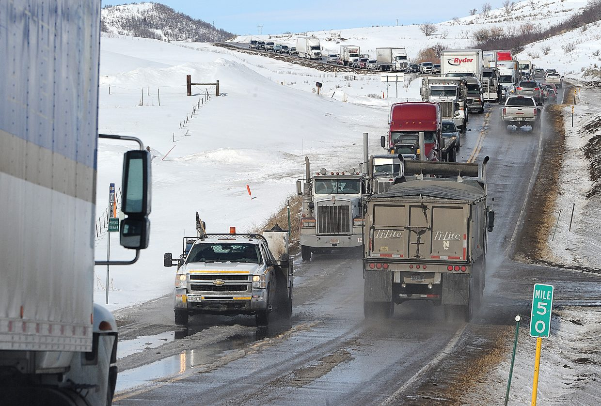 A long line of traffic waits for crews to clear a semi-truck accident that closed Colorado Highway 131 near Oak Creek for about an hour in February. The road, which served as a detour route for thousands of vehicles that cannot go through Glenwood Canyon on Interstate 70, saw several traffic delays.