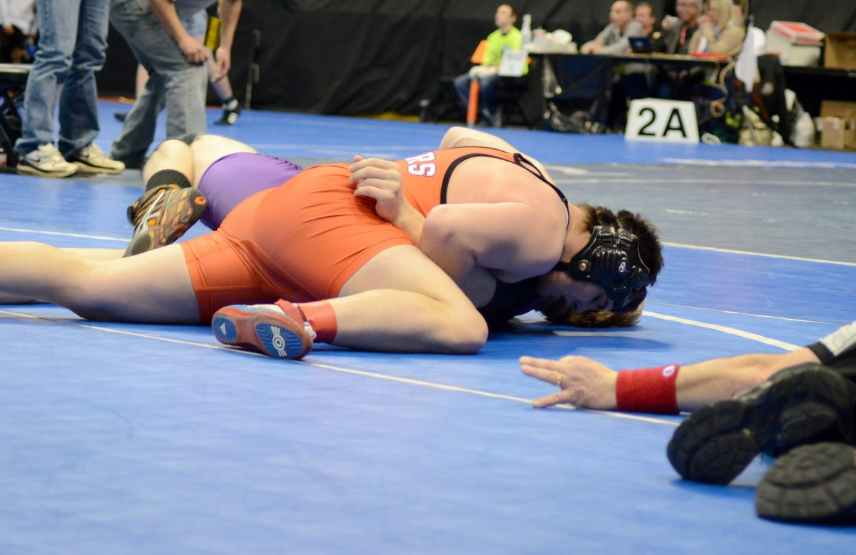 Taylor Lewis was all over Blaine Larson in the second period of his quarterfinal match of the 2A state tournament Friday. Lewis got a pin and moved on to the semifinals to take on No. 1 seed M.C. Griffin of Stratton.