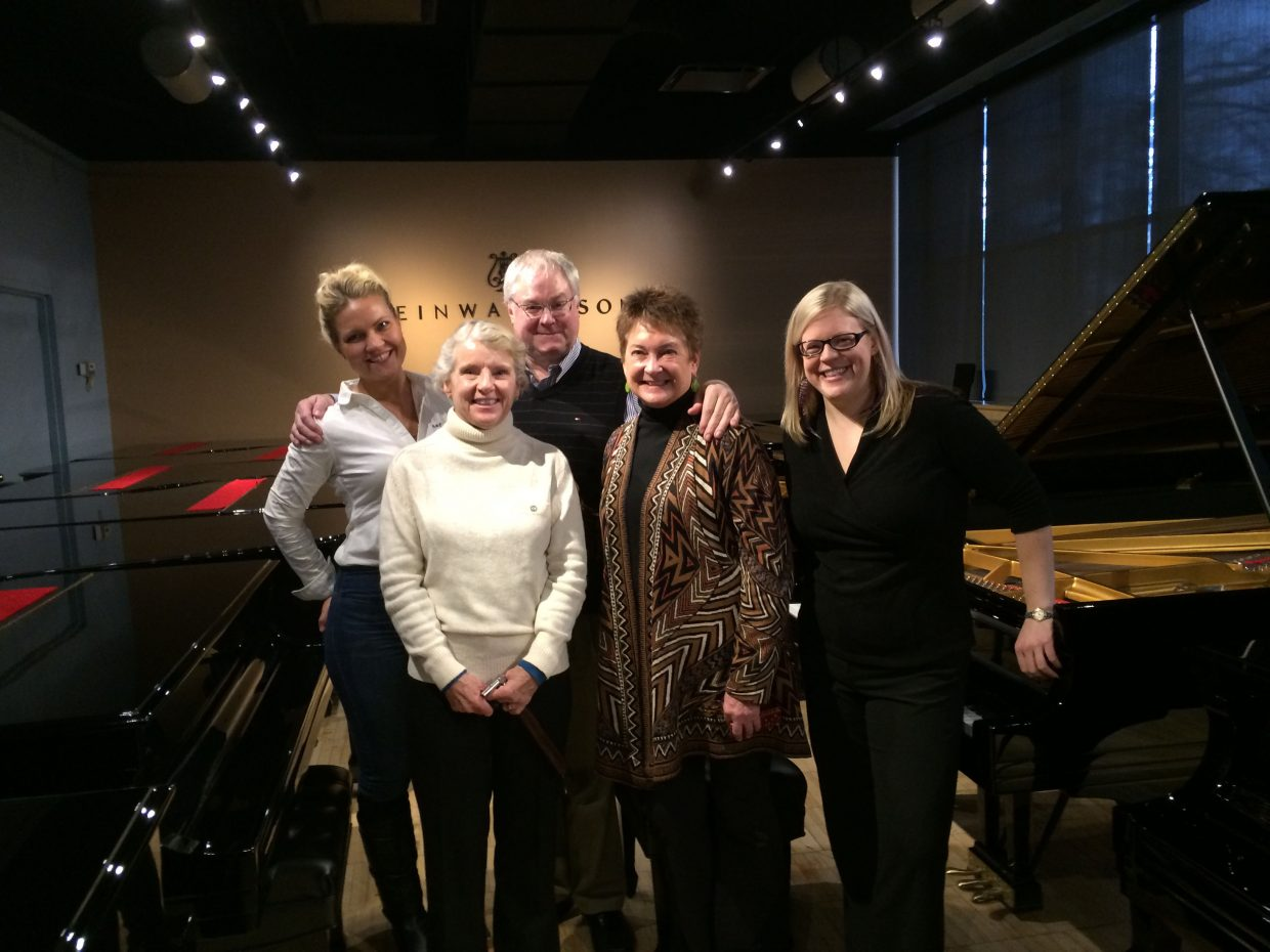 "The ""Steinway team"" that went to New York to pick out the Strings Music Festival's new Steinway piano included pianists, David Deveau and Julie Coucheron; Strings piano technician Kathleen Allen; Strings Director of Artistic Administration Elissa Greene; and Strings Executive Director and CEO Kay Clagett."