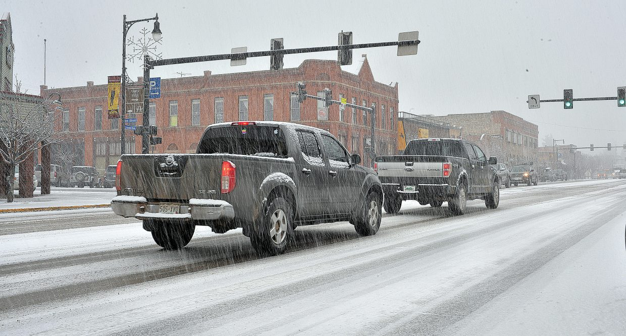 A steady stream of snow fell from th sky Friday morning in Steamboat Springs as a winter storm moved through the area.