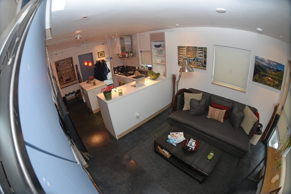 Phillips Armstrong said the 650-square-foot home he rents is enough space for he, his wife and their malamute, but he admits it would be more challenging if they had kids or didn't have a garage for storage.