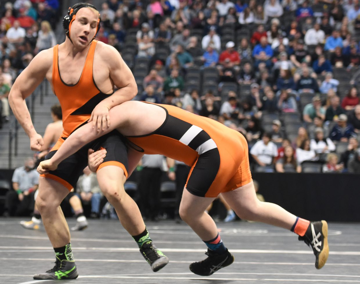 Hayden senior Hunter Rummel wrestles Saturday in the Class 2A 220-pound match for fifth place. He went on to win with a third-period pin.