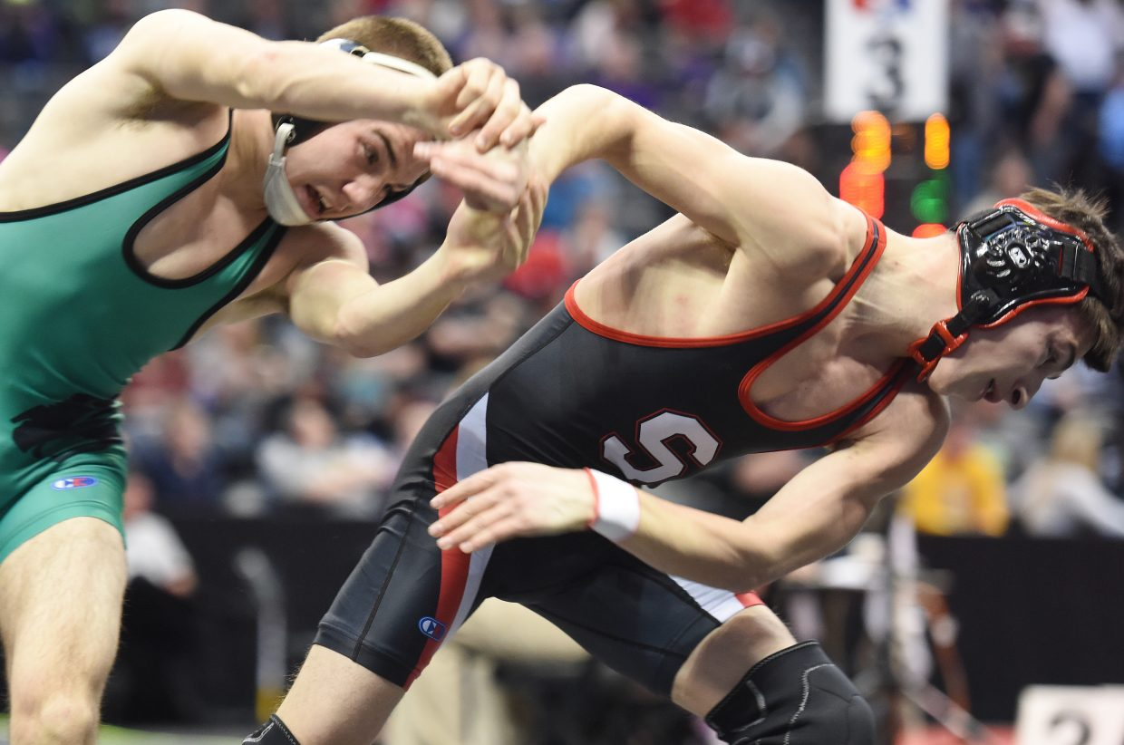 Steamboat's Colton Pasternak wrestles Saturday in the fifth-place match at the Class 3A state wrestling tournament in Denver.