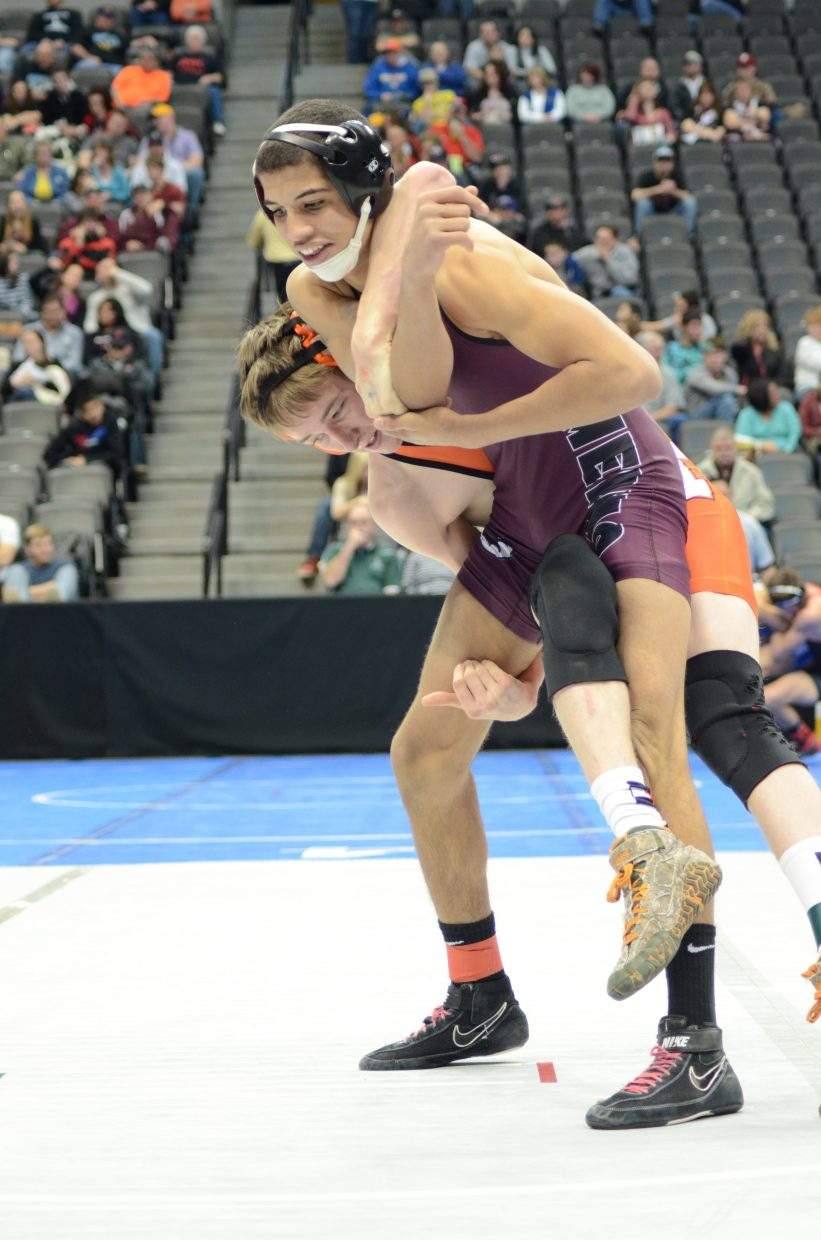 Kent Miller was locked up with Merino's Leon Johnson in the consolation bracket of the 145 lb. 2A state wrestling tournament Saturday but was eventually pinned. The Hayden junior finished just off the podium.