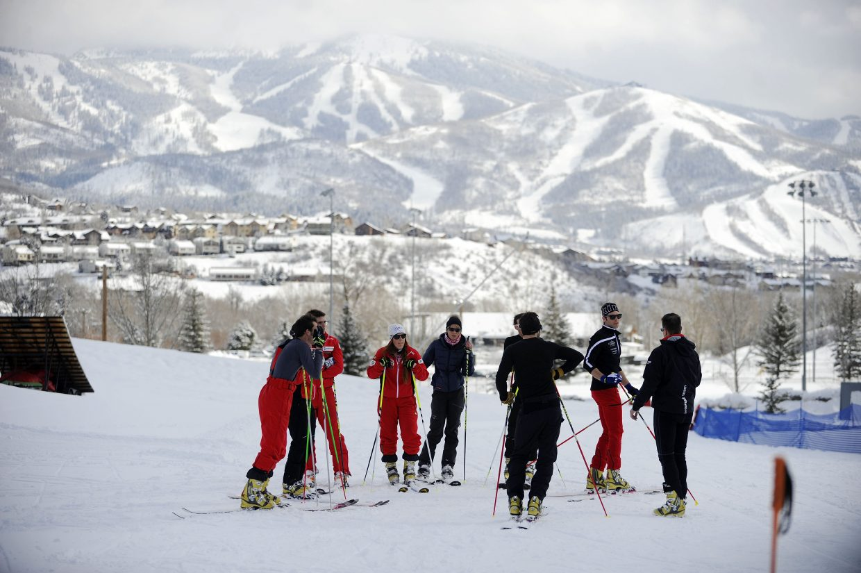 Members of the Switzerland telemark team train Saturday at Howelsen Hill in preparation for the Telemark World Championships, which start Monday. This is the second time the event has been held in the United States.