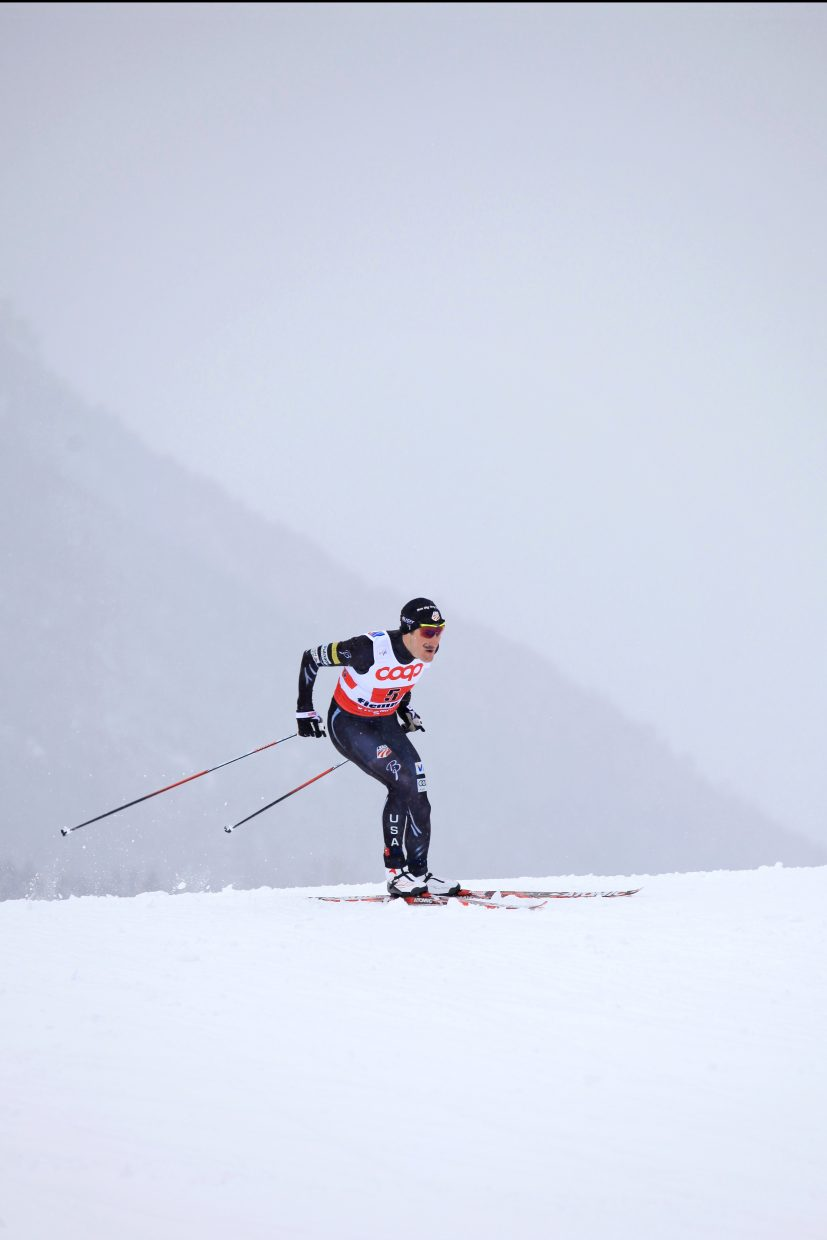 Taylor Fletcher races in 2013 at the Nordic World Ski Championships in 	Val di Fiemme, Italy. He helped the United States win a bronze medal in a team relay event that day. He and four other U.S. skiers will compete in four World Championships events over the next two weeks in Lahti, Finland.
