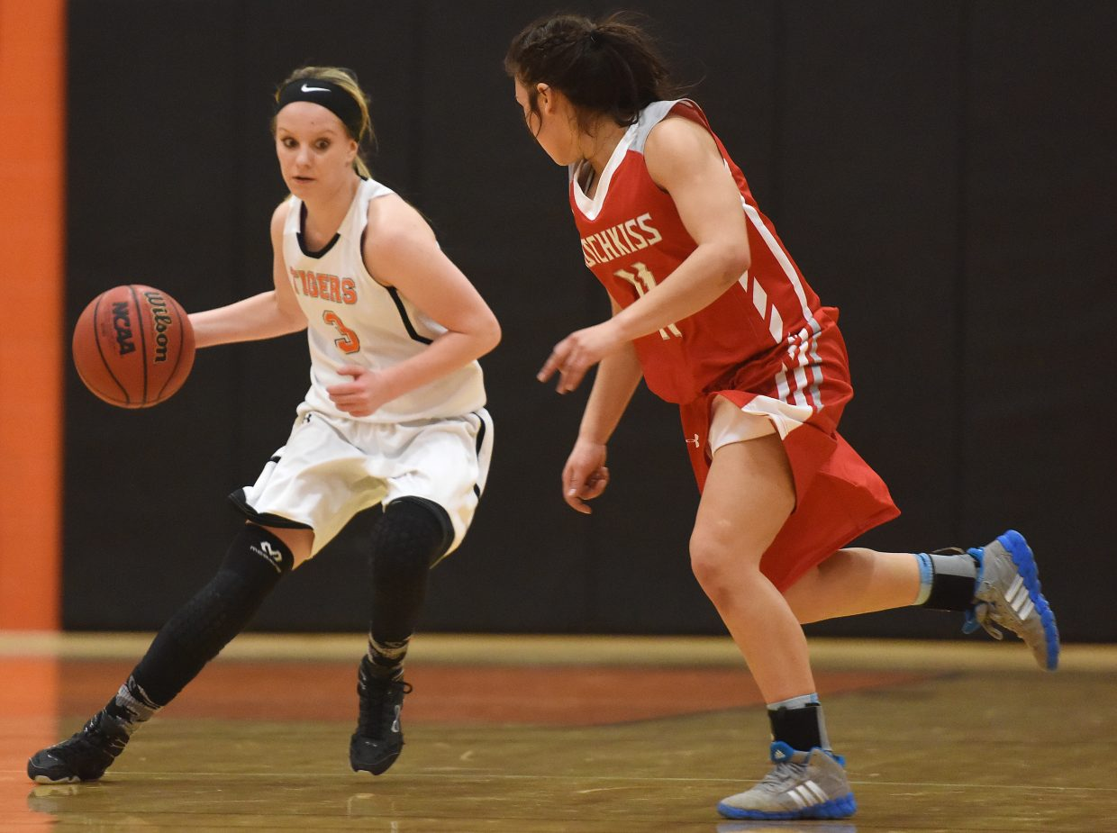 Hayden's Grace Wilkie drives down the court Monday against Hotchkiss.