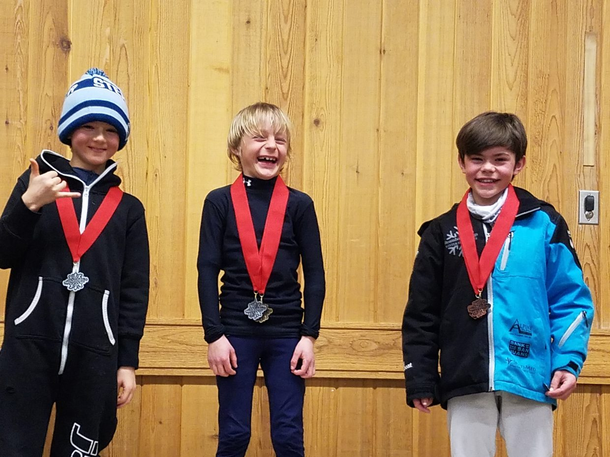 Sawyer Graves, center, was first, Charlie Reisman second and Owen Wither third in the U12 boys class during a special jumping Junior Nationals qualifier event last weekend in Park City.