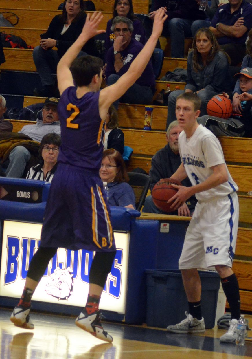 Moffat County High School's Kasen Brennise readies for the inbound during the boys varsity basketball team's Feb. 6 home game with Basalt. The Bulldogs met the Longhorns on the road Tuesday night, losing, 63-43, to get knocked out of the first round of the district tournament and end the season 7-13.
