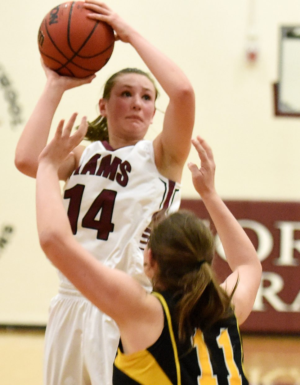 Soroco's Briana Peterson puts a shot up Tuesday.