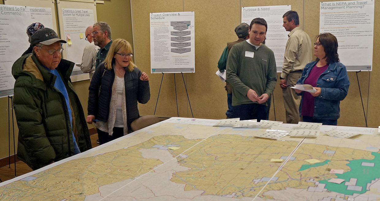 Bureau of Land Management Officials take questions from attendees at a scoping meeting for its travel management plan.
