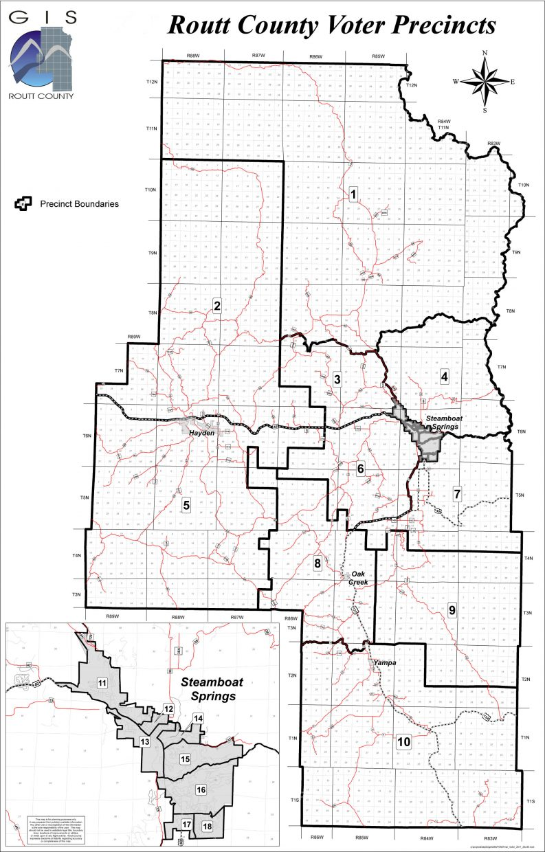 This map shows the location of Routt County's 18 precincts. Steamboat Springs precincts are detailed in the inset map.