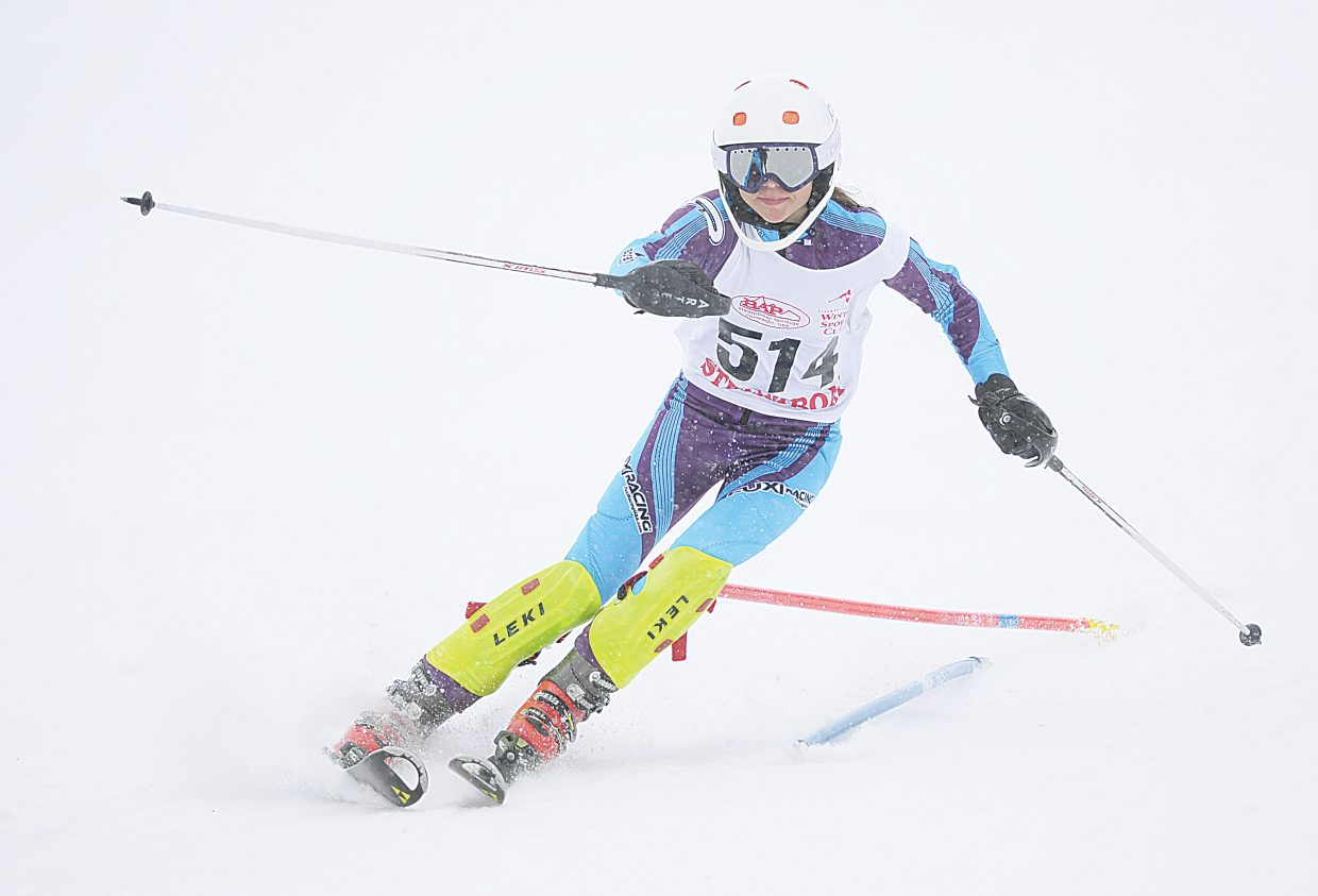 Steamboat Springs freshman Ella Pietras led the Sailors as she skied to a fifth-place finish in the slalom race Feb. 24 on the final day of the Colorado State High School Skiing Championships.