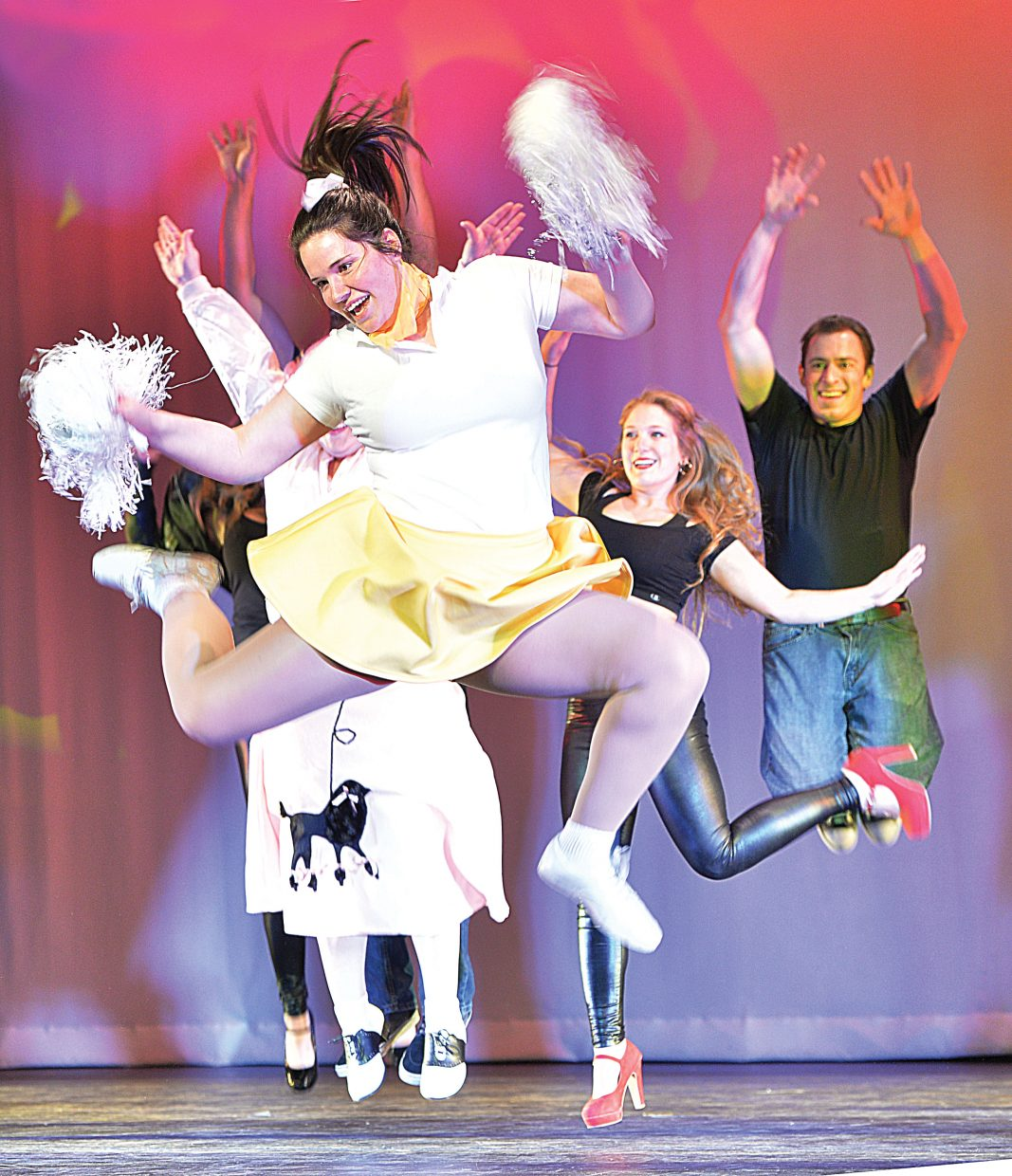 """Nevada Musgrave dances in a rendition of """"Grease"""" during a rehearsal for the 2015 Steamboat Dance Theatre's performance. This is the 43rd year for the show, which will have performances beginning at 7 p.m. Thursday through Saturday and a matinee at 12:30 p.m. Saturday."""