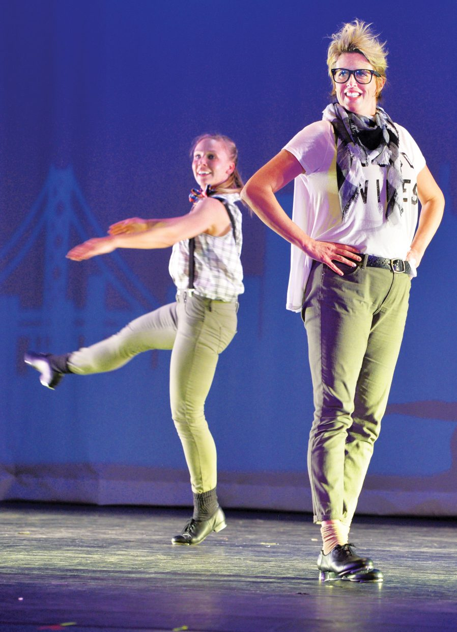 """Andrea Kortas, front, and Meg Southcott, dance in """"Best ever"""" during a rehearsal for the 2015 Steamboat Dance Theatre's performance. This is the 43rd year for the show, which will have performances beginning at 7 p.m. Thursday through Saturday and a matinee at 12:30 p.m. Saturday."""