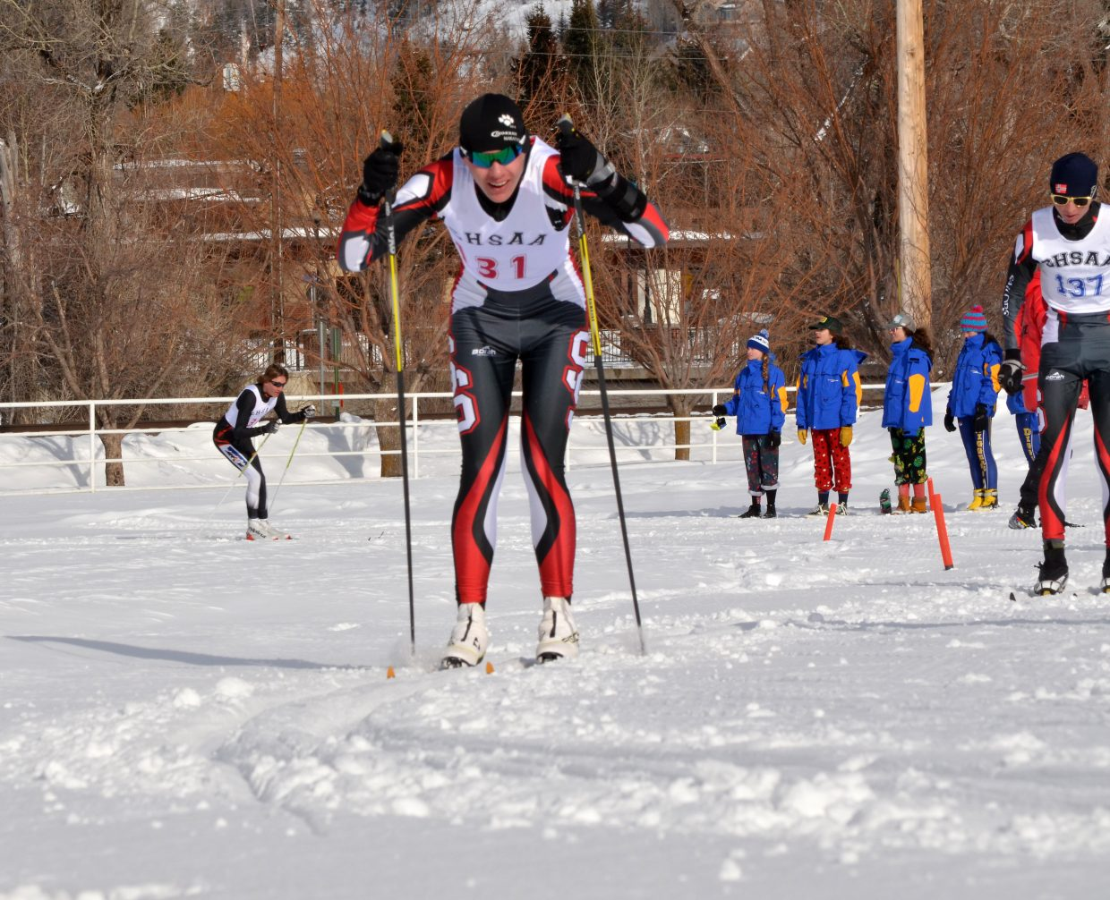 Steamboat Springs High School freshman Nordic skier Gabe Rabenal (131) led his team in the State Championship 5-kilometer classic race at Howelsen Hill Feb. 24 with a 26th place. Sailor Matai Curzon (137) is right behind him.