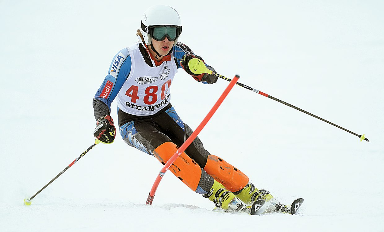 Alex Coffey makes his way through the gates Feb. 24 during the slalom event at the Colorado State High School Skiing Championships.