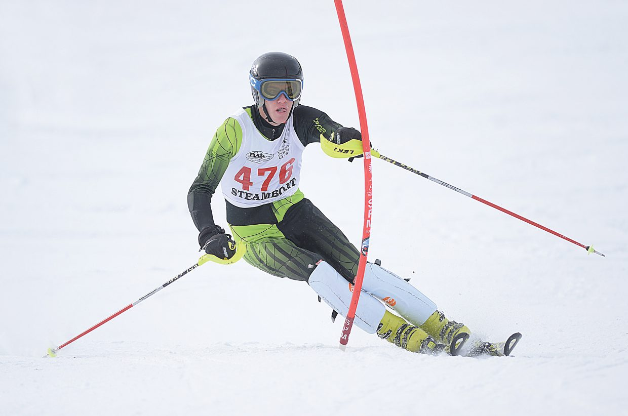 Steamboat Springs ski racer Andrew McCawley races to a state title in the slalom event at the Colorado High School Skiing Championships Feb. 24.