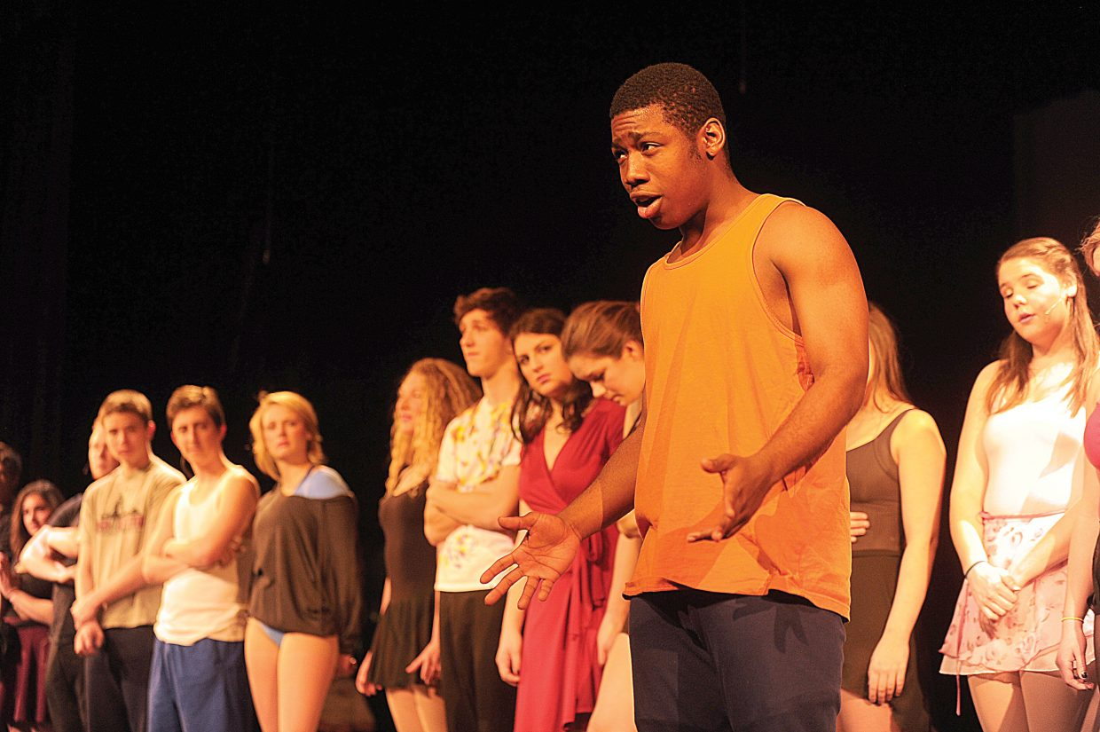 "Marshall Henry rehearses his part in Steamboat Springs High School's production of ""A Chorus Line."""