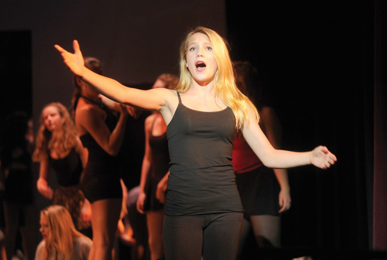 "Mayana Gibbs rehearses her part in Steamboat Springs High School's production of ""A Chorus Line."" The musical opens at 7 p.m. Thursday."