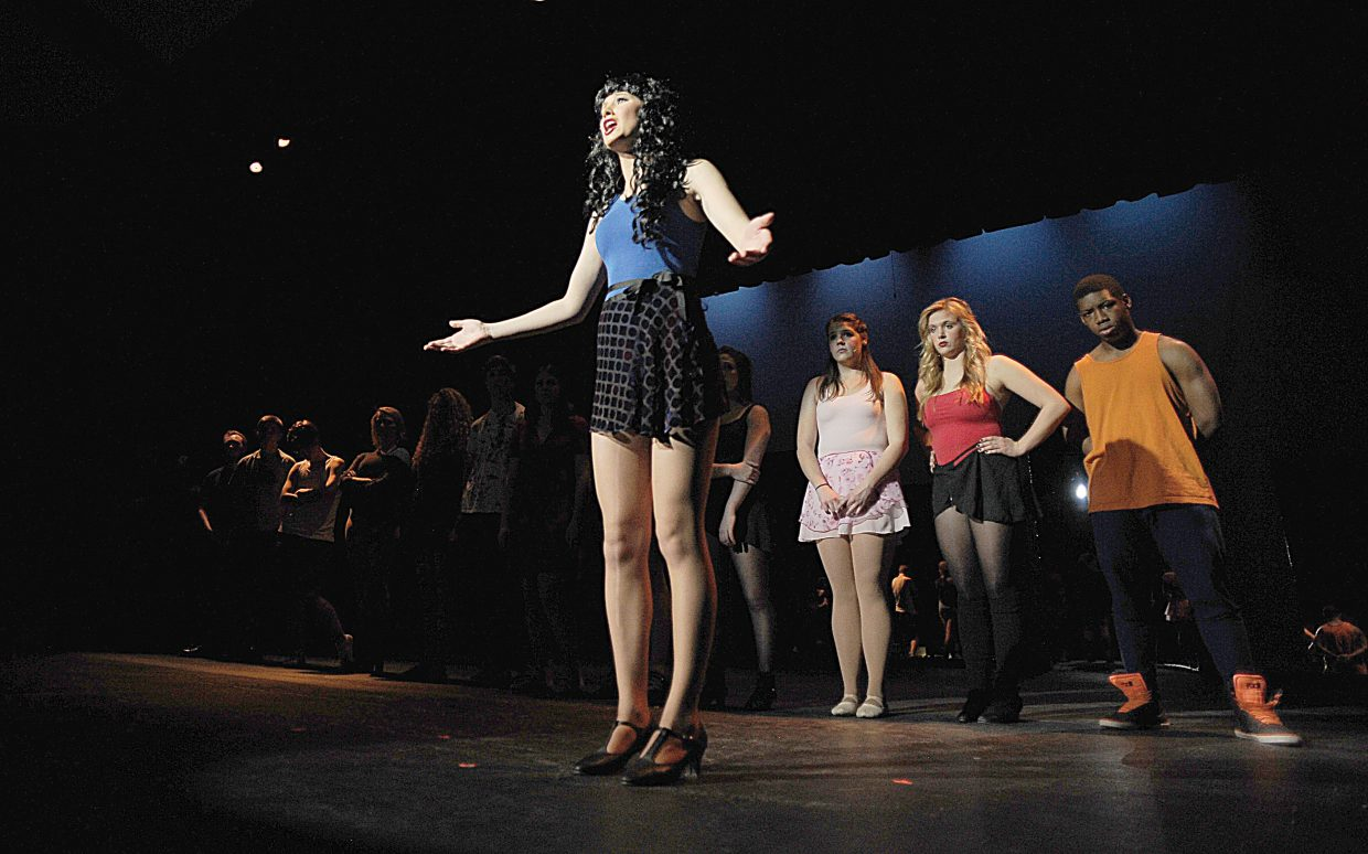 "Lena Barker and the cast rehearse a scene in the Steamboat Springs High School's production of ""A Chorus Line."" The musical opens at 7 p.m. Thursday."