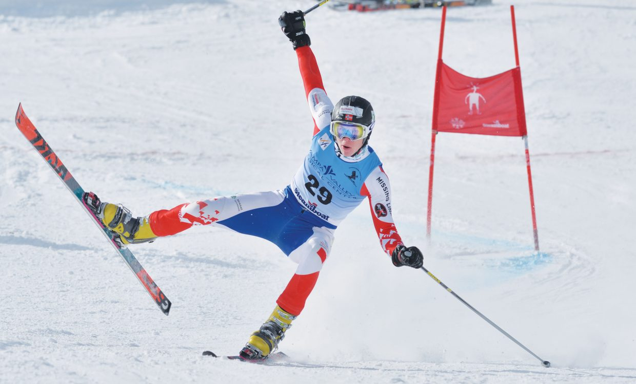 Andreas Solstad Alme of Norway holds on after losing control in the men's Parallel Qualifier at the 2015 FIS Telemark World Championships. Alme was able to get both skis back on the ground and finished his run. The top 32 racers in the event advanced to the men's parallel race, which will take place Thursday. Wednesday's races were held at Howelsen Hill and included the qualifier, as well as a team event.