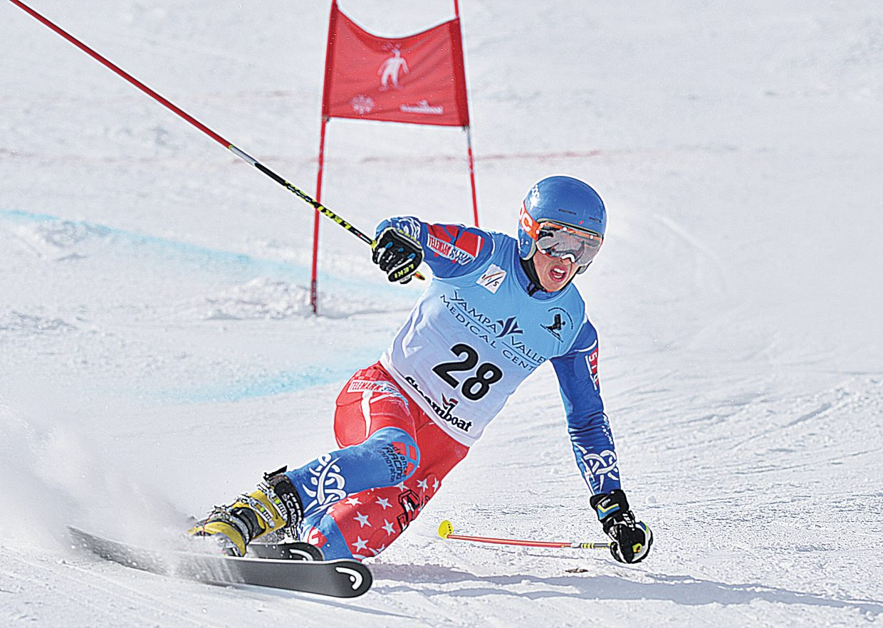 Steamboat Springs racer Tanner Visnick rounds a gate during the 2015 FIS Telemark World Championships men's Parallel qualifier.The top racers from Wednesday's event will race in the finals Thursday. The Telemark World Championships are taking place at Howelsen Hill and Steamboat Ski Area this week.