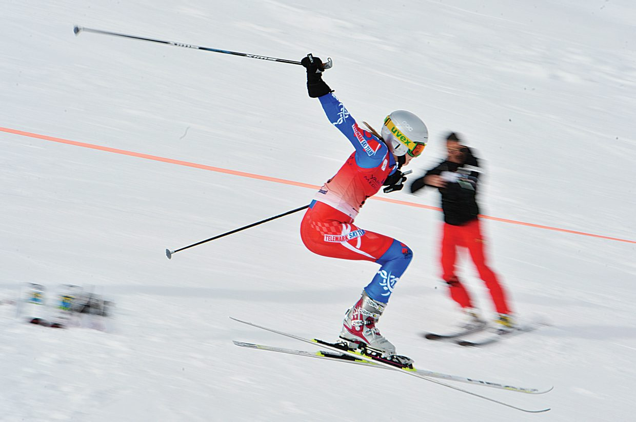 Taylor Finn flys off the mid-course jump during a qualifier for the 2015 FIS Telemark World Championships Wednesday morning. The top racers in the event will move on to the finals, which will be held Thursday. The Telemark World Championships continue through Friday at Howelsen Hill and Steamboat Ski Area.