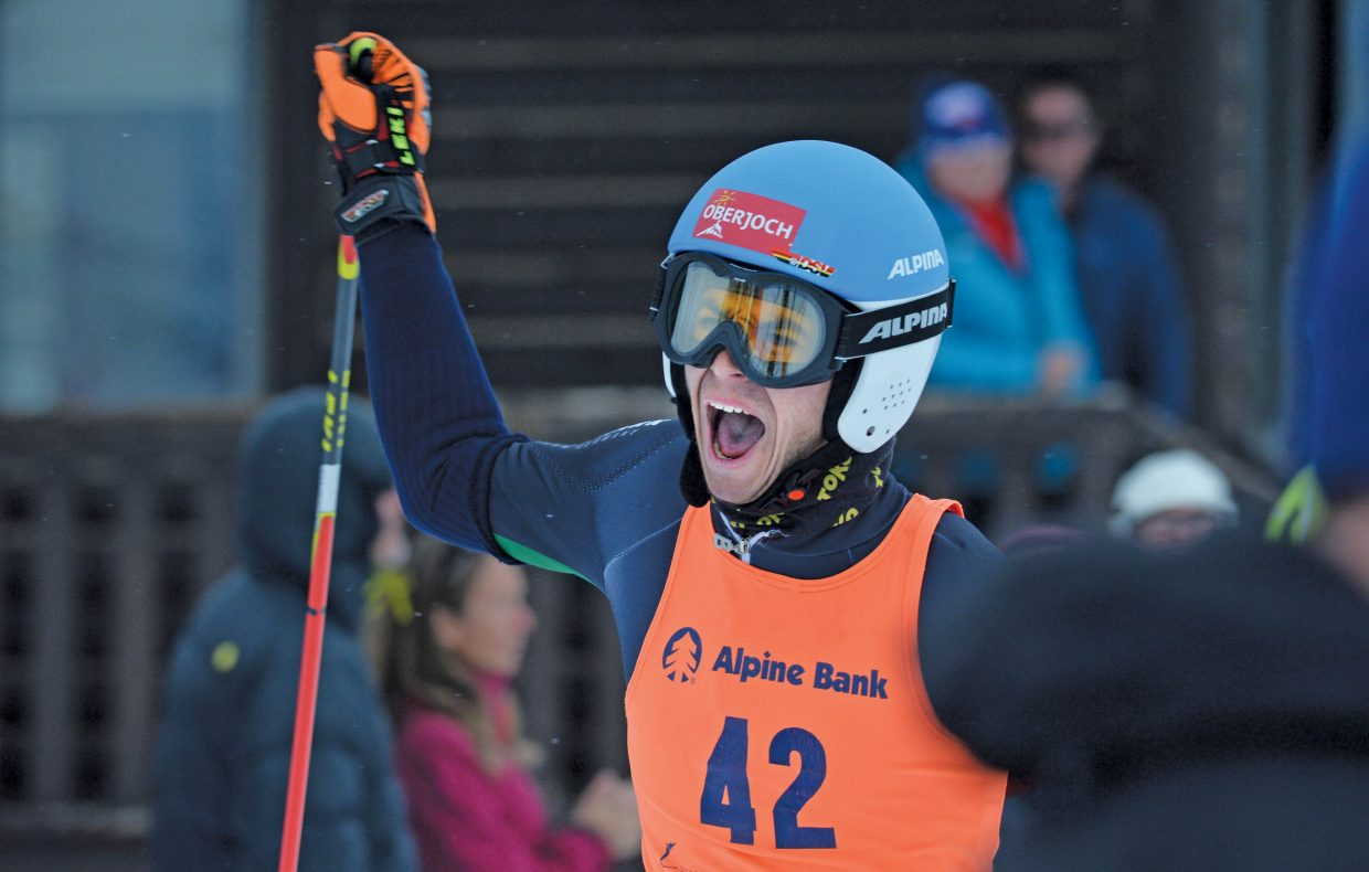 German skier Jonas Schmid celebrates as he crosses the finish line of Wednesday's FIS Telemark World Championship team event at Howelsen Hill. The Germans placed third after beating the Norwegians in the small finals. The World Championships will continue Thursday at 10 a.m. with the finals of the Parallel Sprint Classic.