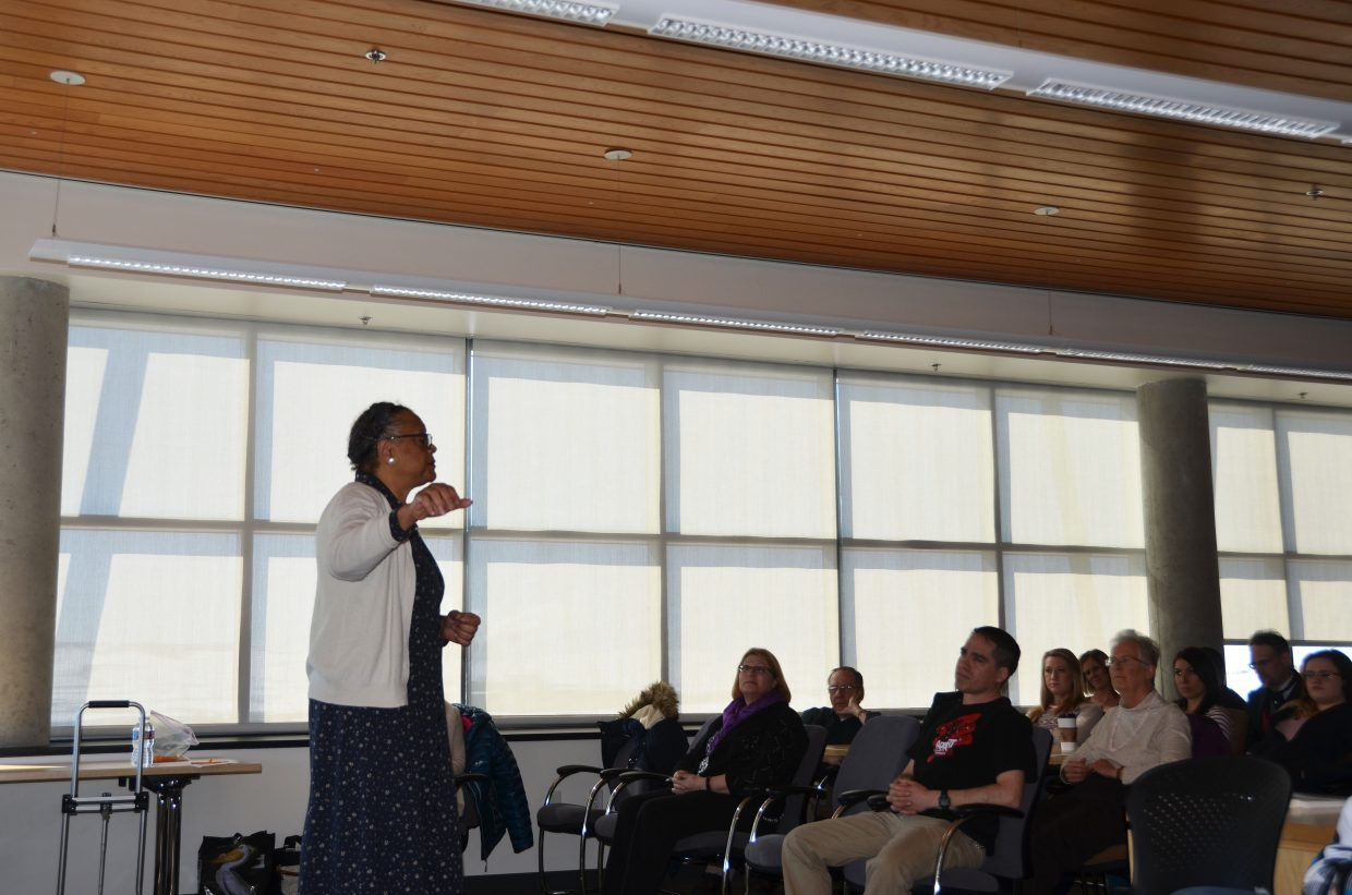 Becky Stone, a storyteller and actor who lives in North Carolina, spoke as Rosa Parks Thursday morning on the Craig campus of Colorado Northwestern Community College.