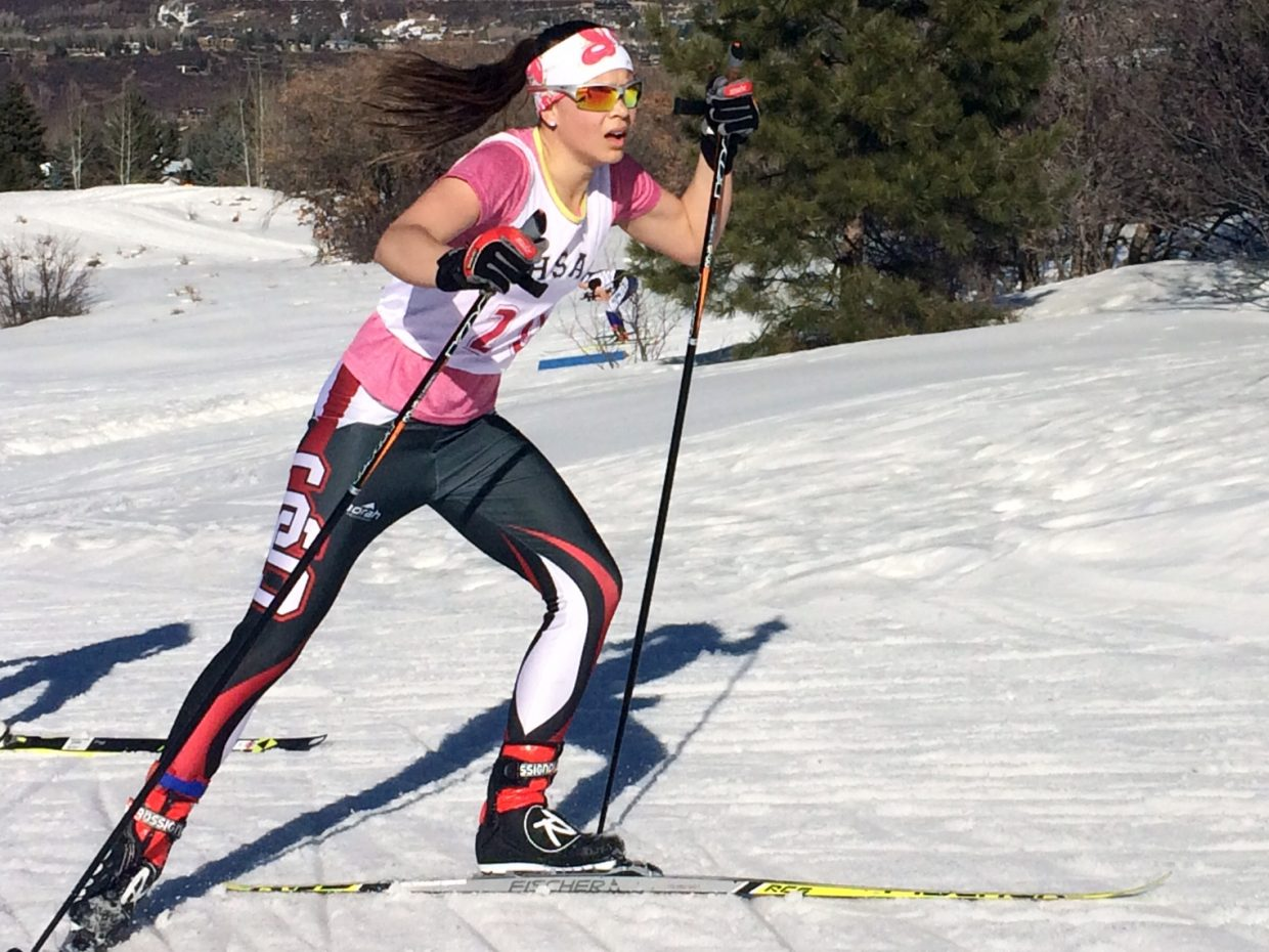 Steamboat Springs High School freshman Annika Malacinski competes in Friday's state skiing championship in Aspen.
