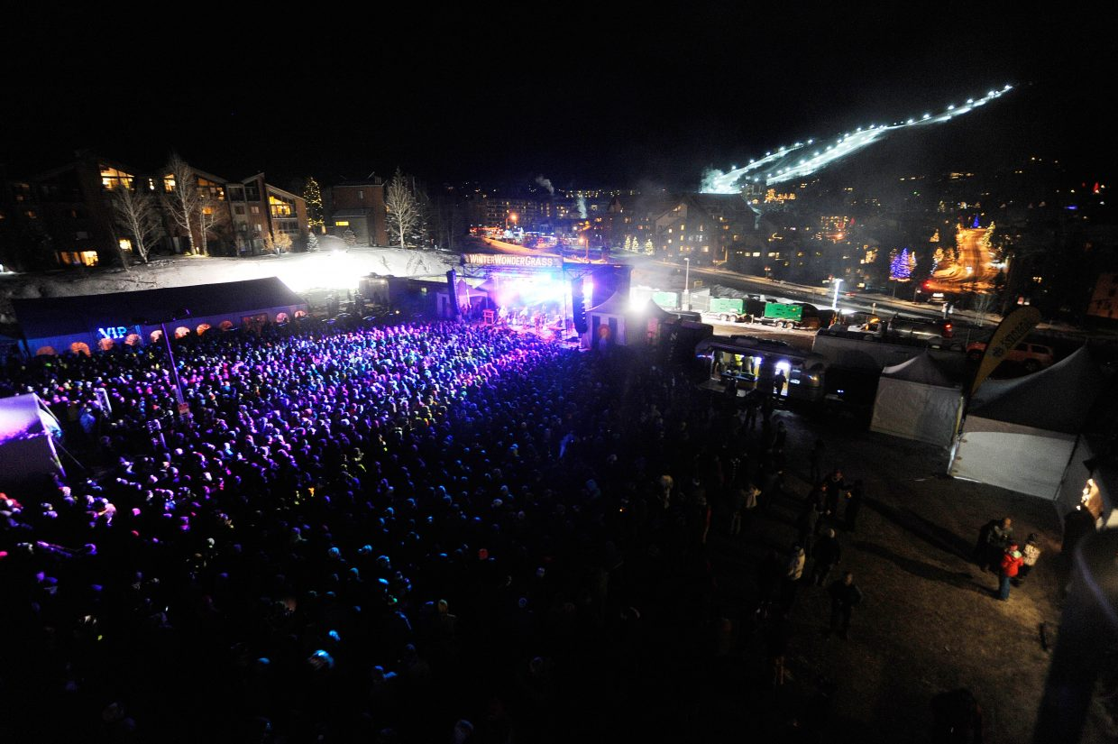 A crowd gathers to listen to Leftover Salmon perform at last year's WinterWonderGrass.