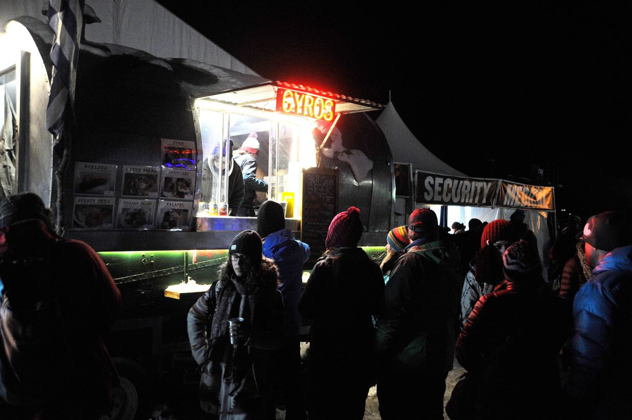 People line up for gyros at WinterWonderGrass.