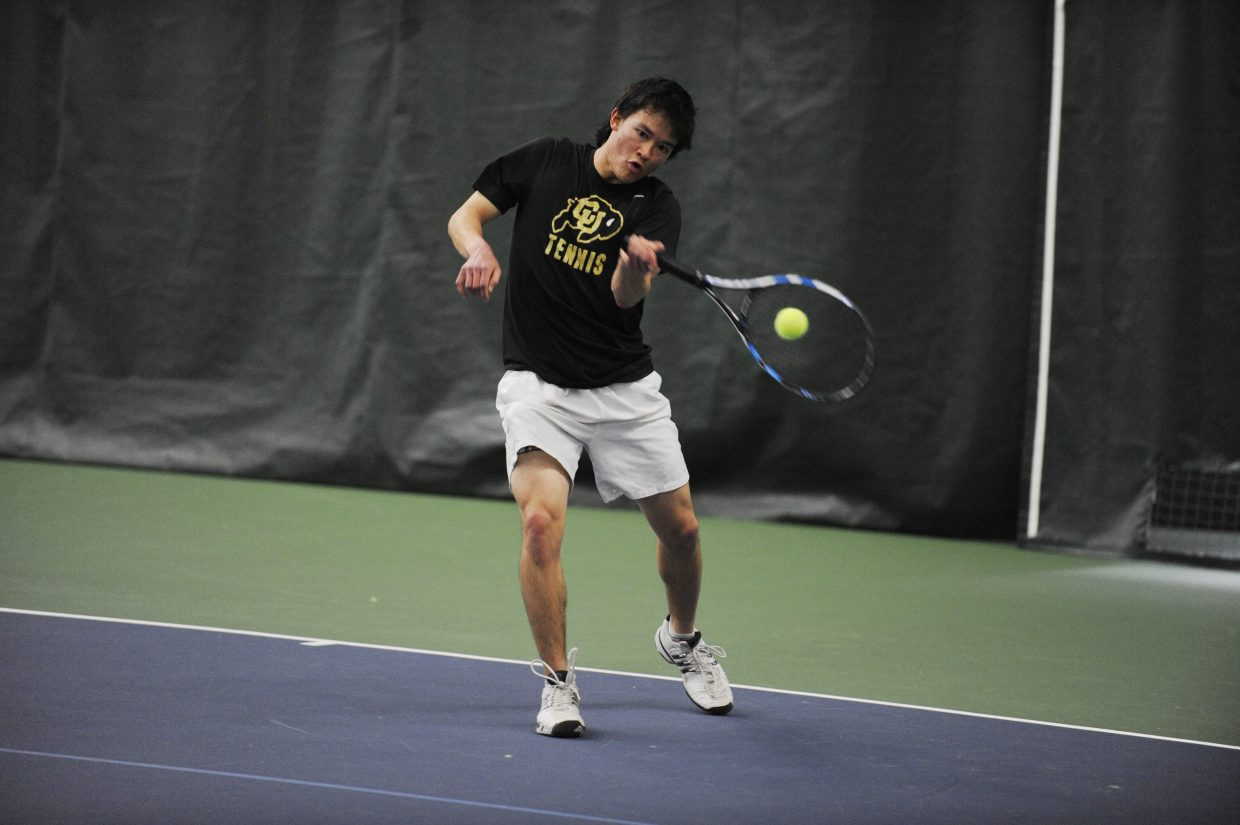 University of Colorado junior Glenn Strickler plays a match Saturday at the Tennis Center at Steamboat Springs. The Colorado School of Mines hosted an invitational at the tennis center.