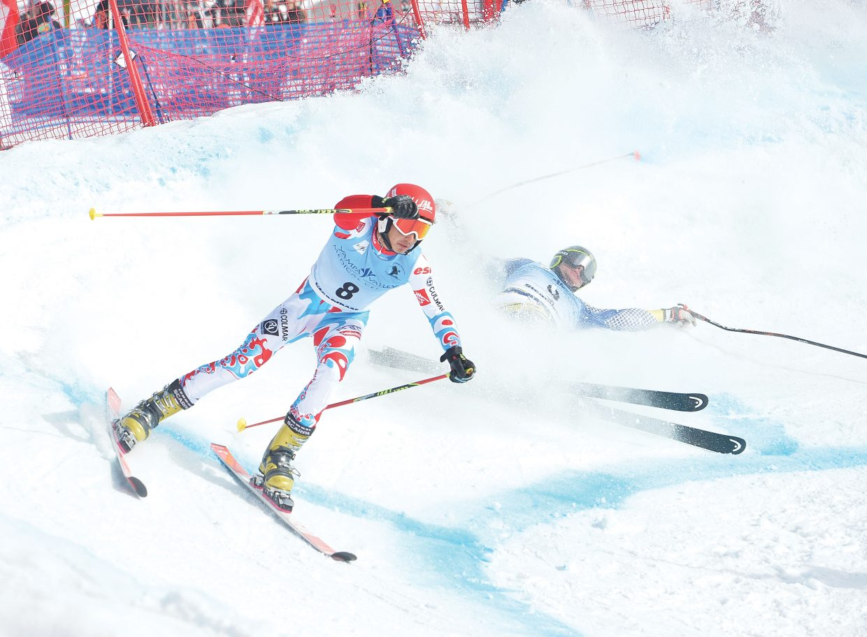 Sven Blain of France skies away from Olle Collberg of Sweden during the 2015 FIS Telemark World Championship at Howelsen Hill. Blain won his head-to-head dual with Collberg and advanced to face Tobias Mueller in the quarterfinal round of the men's Parallel Sprint event. The World Championships will continue Friday at 10:30 a.m. with the classic race on Vagabond at Steamboat Ski Area.