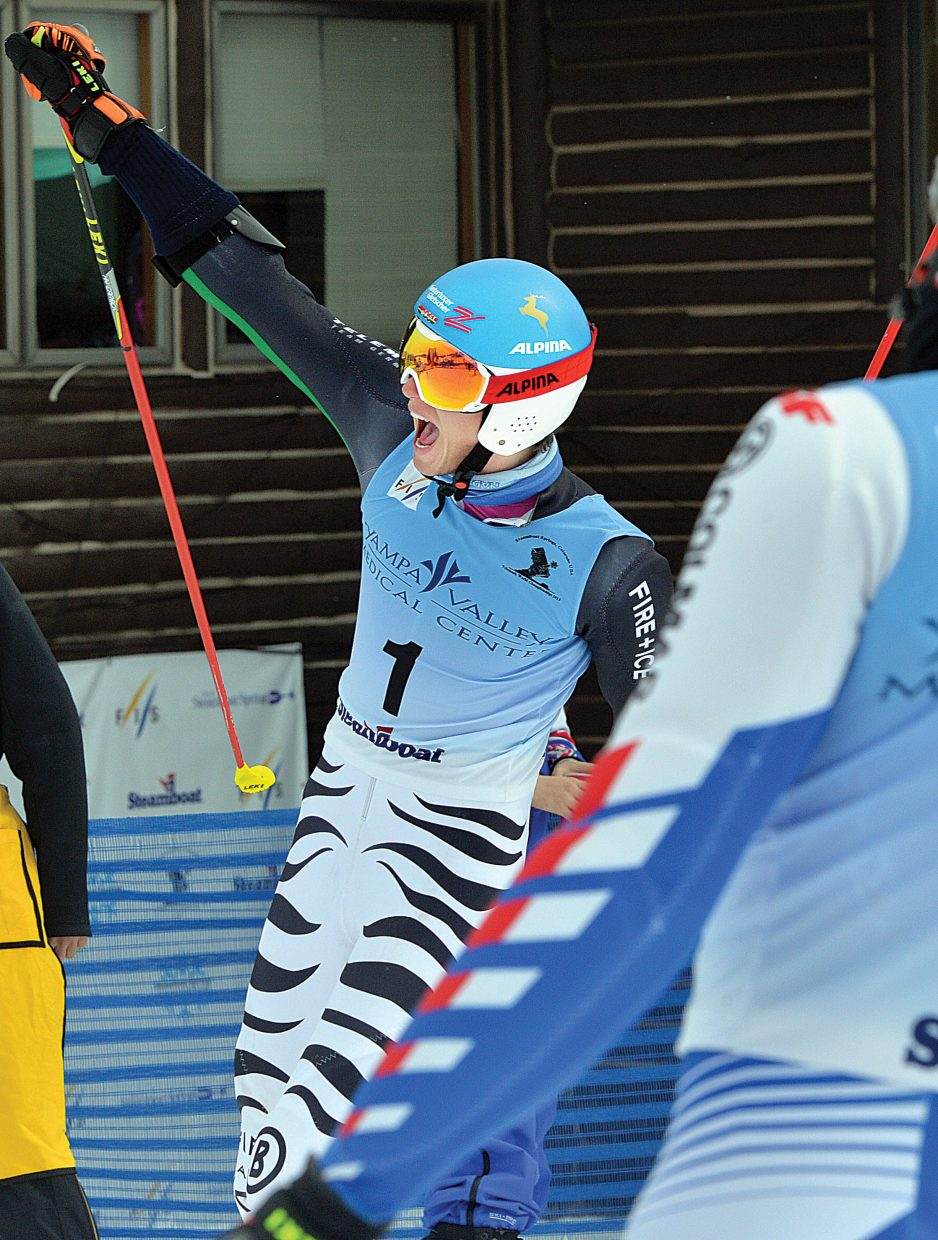 German Tobias Mueller celebrates winning Thursday's FIS Telemark World Championship race at the base of the Howelsen Hill Ski Area. The World Championships will continue today at 10:30 a.m. with the classic race on Vagabond at the Steamboat Ski Area.