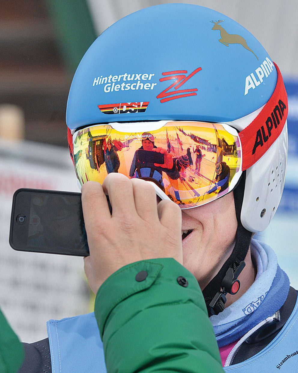 French skier Antoine Bouvier is videotaped by a coach after placing third in Thursday's men's parallel sprint at Howelsen Hill. The event was featured on the third day of the FIS Telemark World Cup, which is taking place in Steamboat Springs this week. The World Championships will continue Friday at 10:30 a.m. with the classic race on Vagabond at Steamboat Ski Area.
