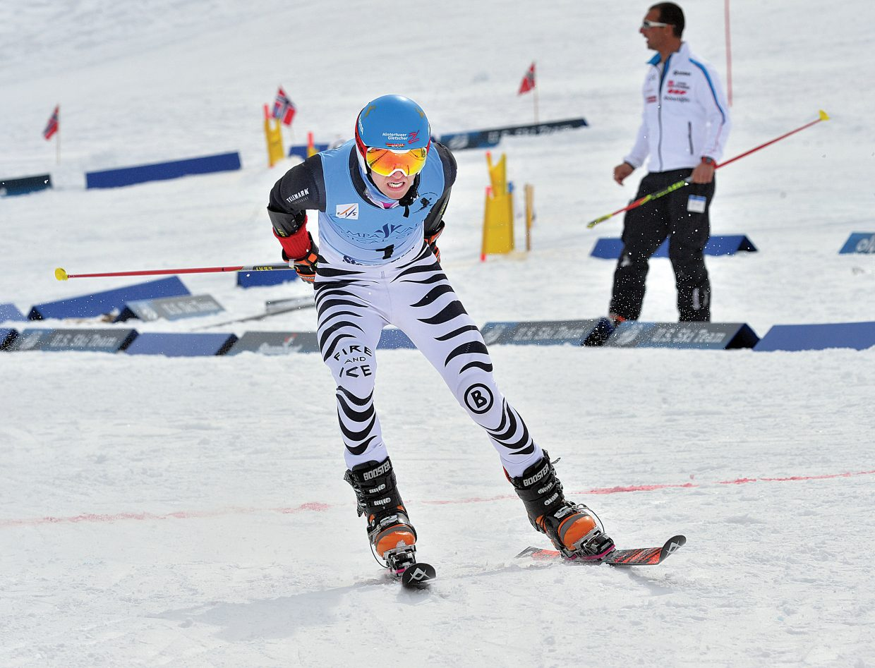 German Tobias Mueller races to the finish line of Thursday's FIS Telemark World Championship race at the base of the Howelsen Hill Ski Area. The World Championships will continue Friday at 10:30 a.m. with the classic race on Vagabond at Steamboat Ski Area.