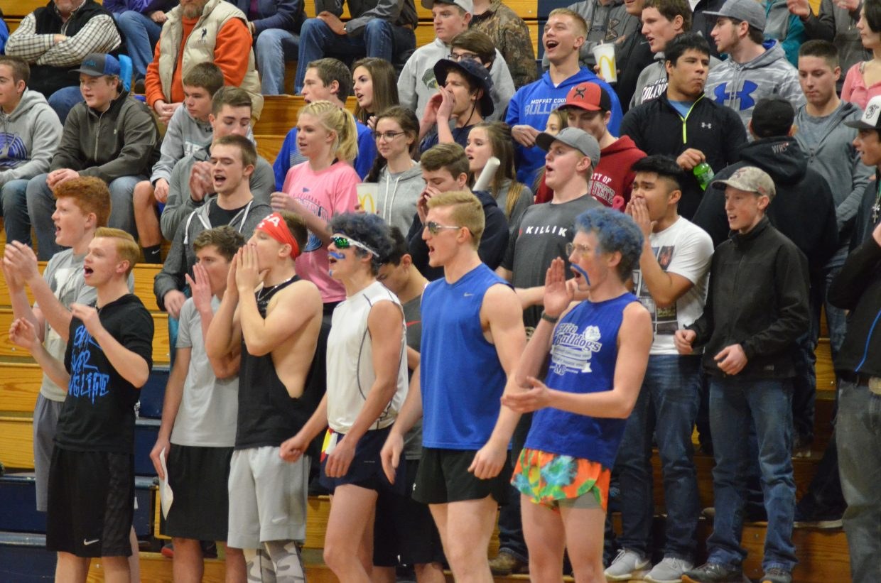 The Moffat County High School student section cheers for MCHS girls basketball during the opening round of the district tournament. The Lady Bulldogs will host a set of regional games as part of the 3A hoops postseason.