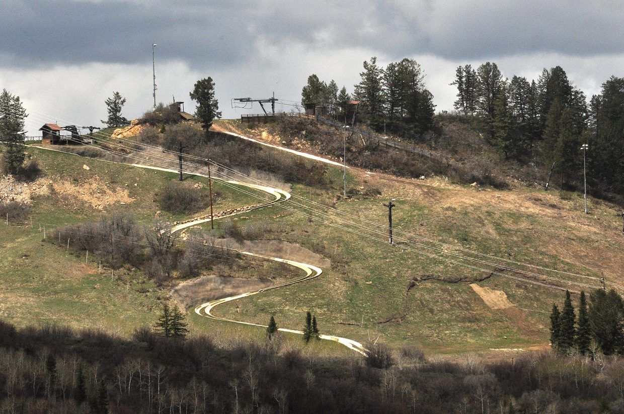 The remnants of a spring landslide on Howelsen Hill are visible next to the Alpine slide. The landslide is believed to have moved one of the chairlift towers and shifted some of the tracks on the slide.