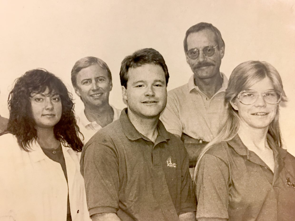 Pictured in this late 1980s vintage photograph of members of the KBCR radio staff are, from left, office manager Gina Andrews, on-air personality and sportscaster Tom Whiddon, on-air personality Brian Harvey, newsman John Larson, who died Feb. 4 in Oregon, and on-air personality Laura Nelson.
