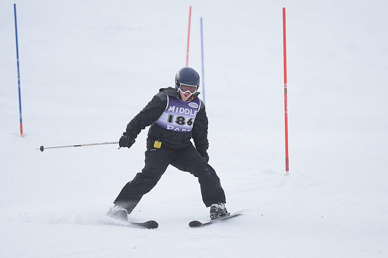 Middle Park ski racer Sam Parker makes his way down the slalom course during last Friday's Colorado High School State Skiing Championships.