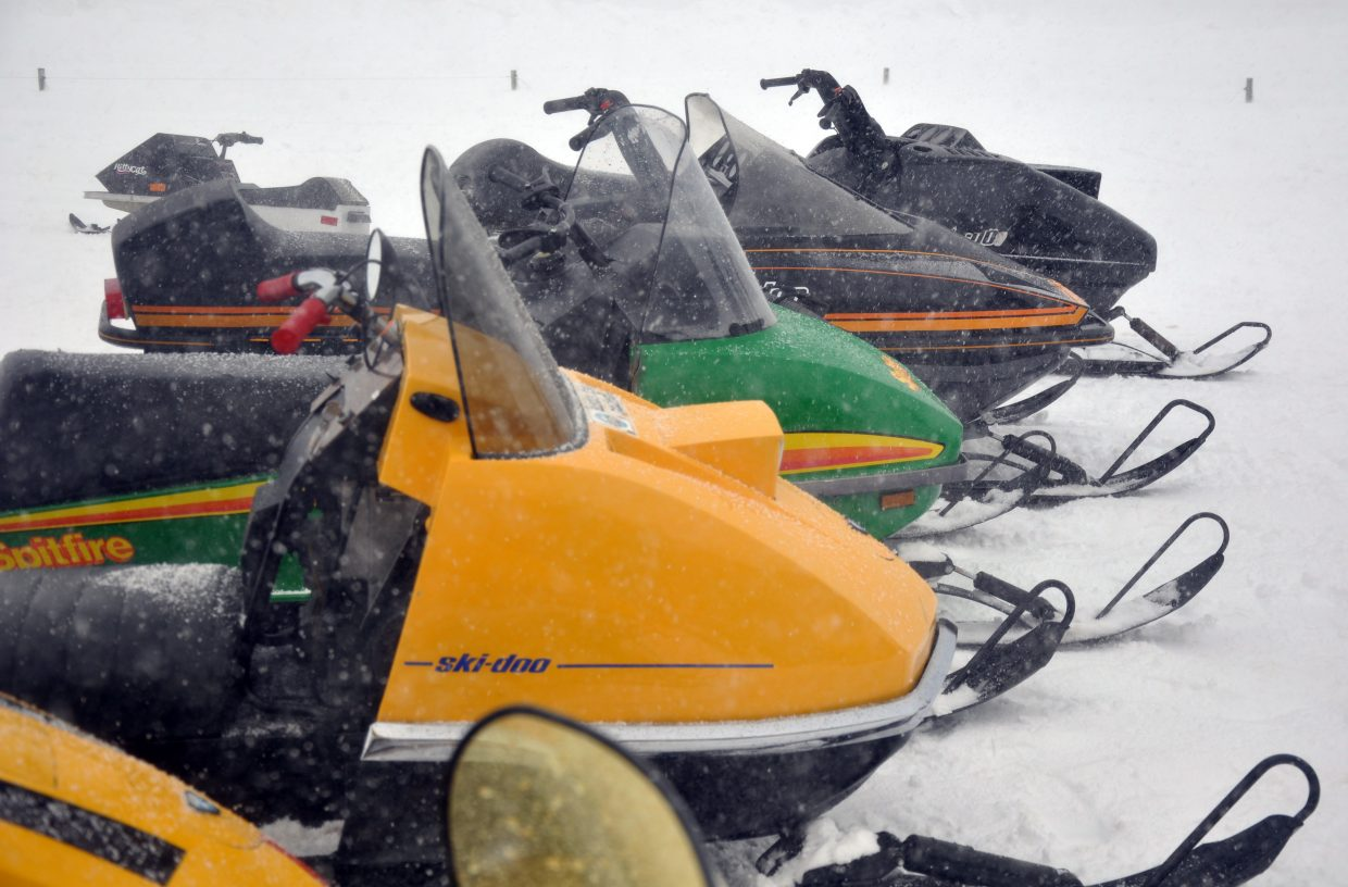 Vintage snowmobiles were lined up at Hahn's Peak Roadhouse.