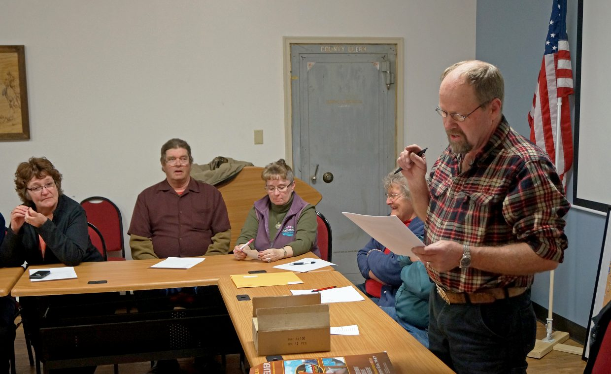 Jim Stoddard announces his candidacy for the Board of Moffat County Commissioners District 2 seat at Tuesday night's Moffat County precinct 2 Republican caucus.