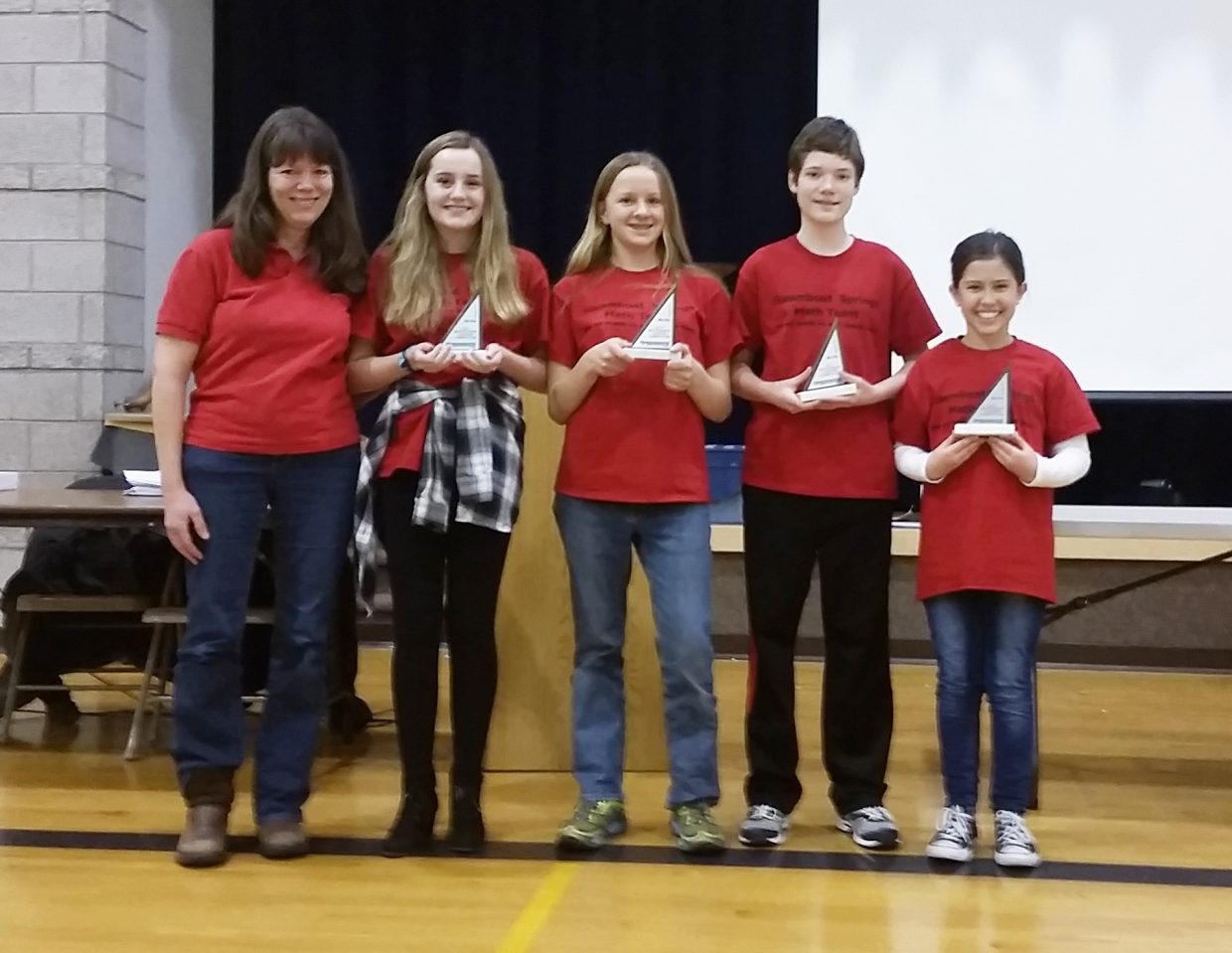 The Steamboat Springs Middle School math team took first place at the Western Slope Chapter MATHCOUNTS competition held in Grand Junction Feb. 4. Fifteen schools brought a total of 109 students to the competition. SSMS team coach Sally Lambert is pictured with members Morgan Graham, Jade Henderson, Shane Lambert and Suzy Magill. The four students and students and Indiana Kretzschmar have qualified to move on to the state competition, which will be held at University of Denver on March 18.